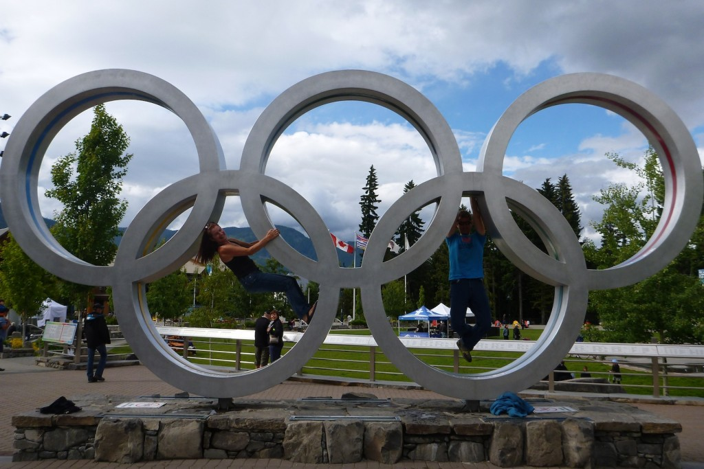 Doing athletic things on the Olympic rings in Whistler. Phil did pull ups while I was happy to hold my own body weight!
