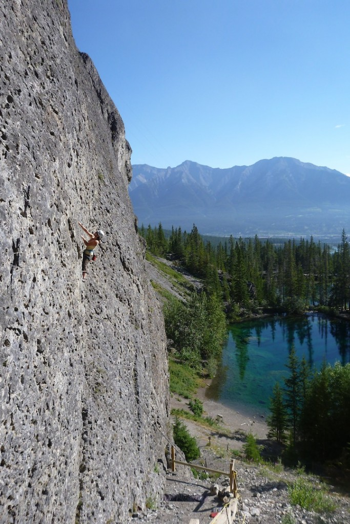 Pauline leading a climb at Grassi Lakes