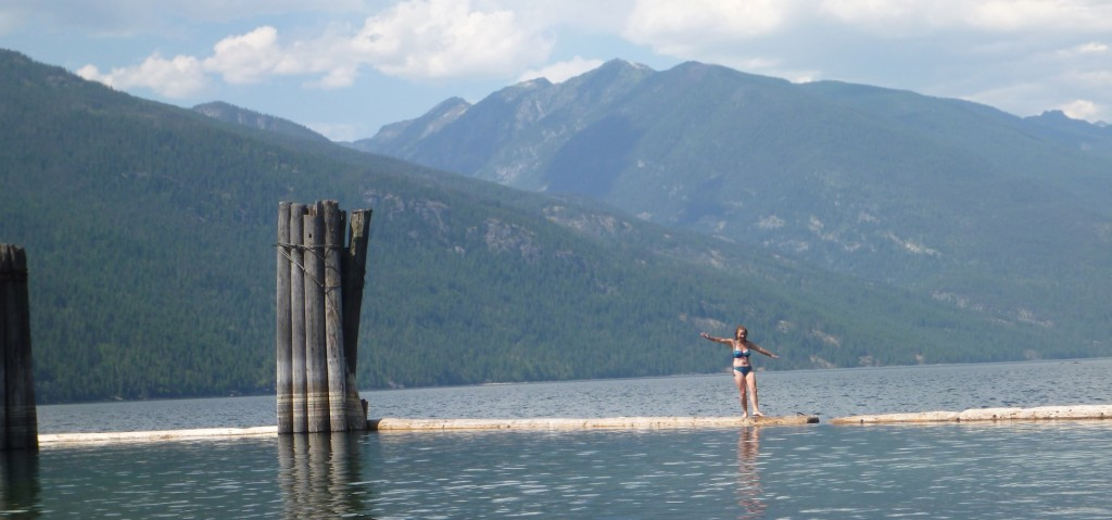The art of log walking on Slocan Lake